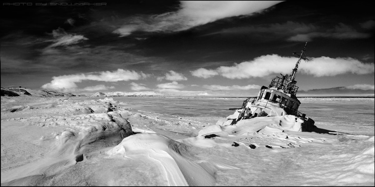 фото, чукотка, снег, photo, chukotka, snowmaker, облака, буксир, ship,, snowmaker