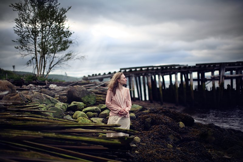 girl freedom sea bridge sky air breeze stone, Анна Луценко