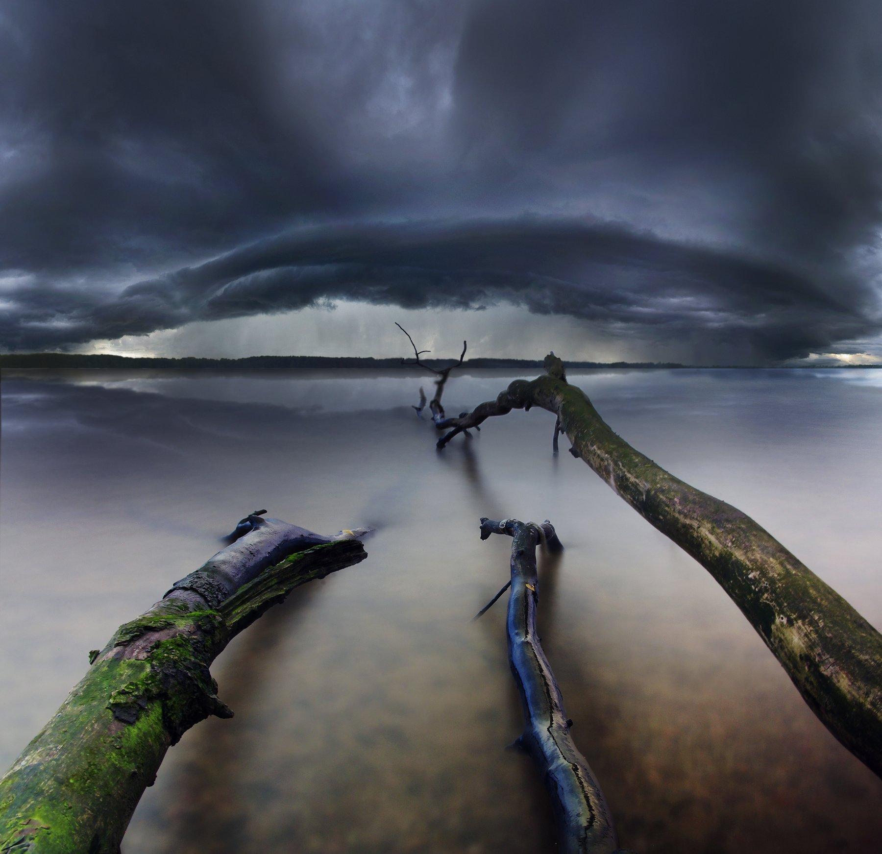 clouds, storm, tree, long exposure, Lithuania, Mindaugas Žarys
