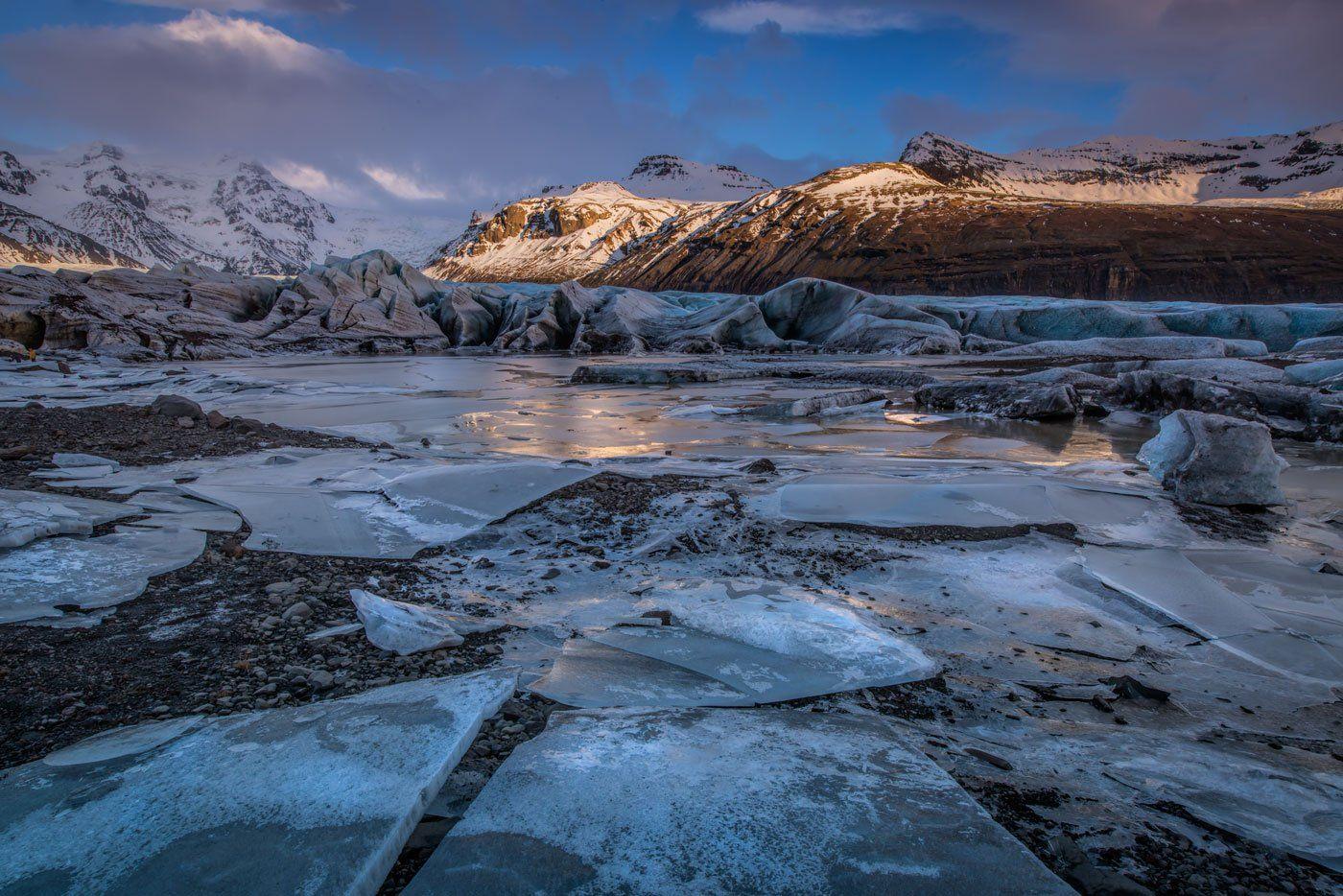 путешествия, Исландия, ледник, лед, снег, закат, Анна Яценко