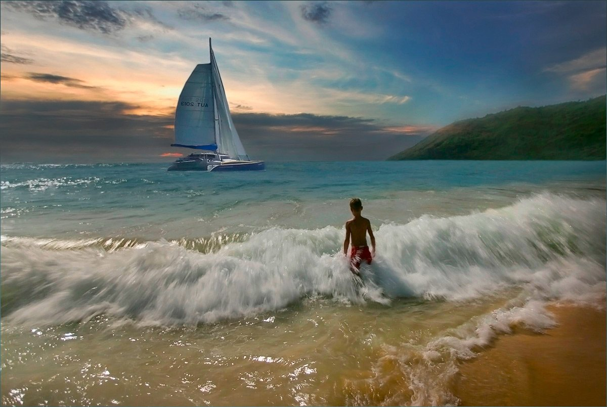 море парус мальчик на море, Александр Гаусс