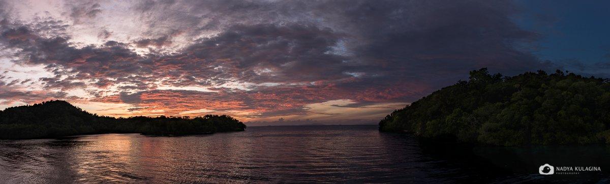 Раджа Ампат, панорама, закат, вода, море, небо, nadeika