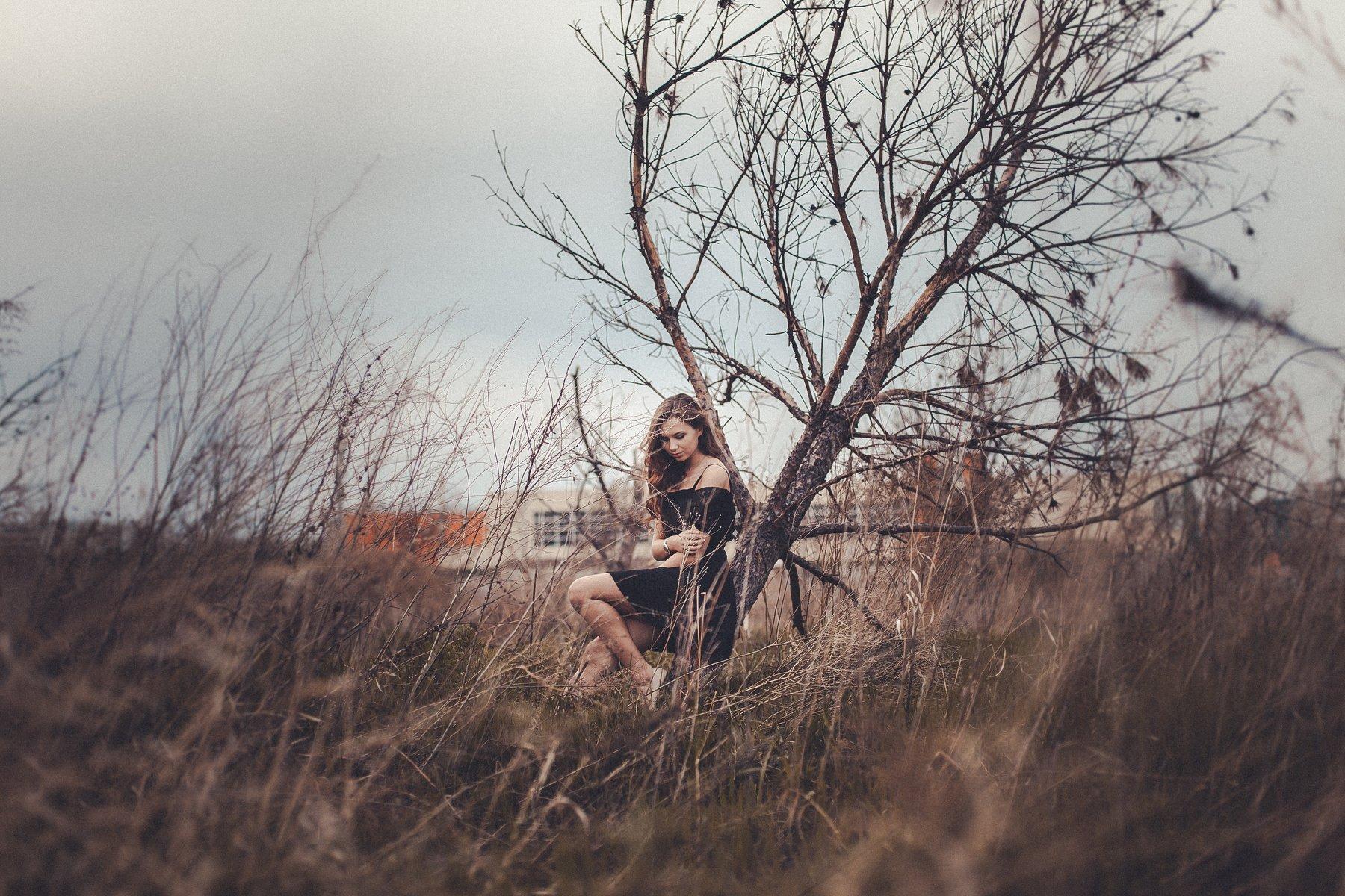 девушка, платье, весна, деревья, Дмитрий Душаков