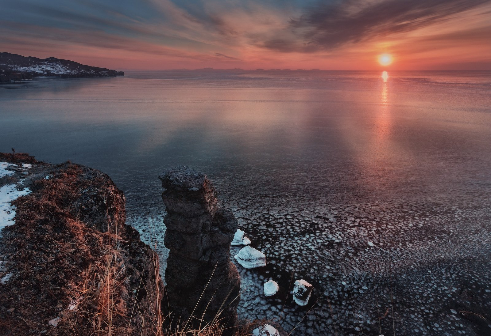 Восход, Зима, Море, Скалы, Солнце, Утро, Андрей Кровлин