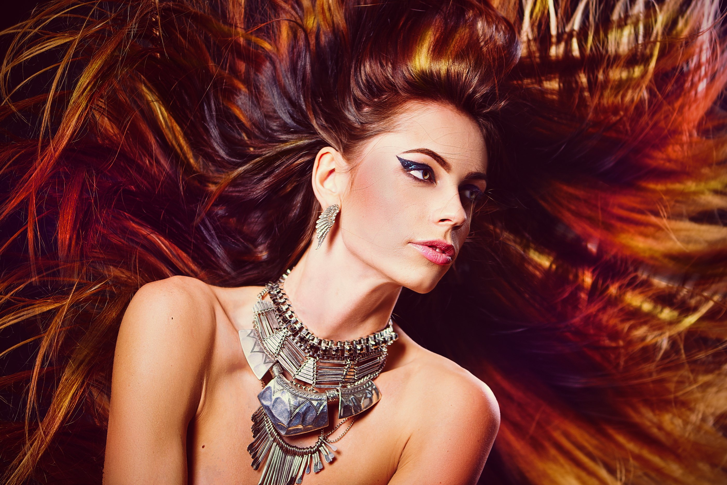 Девушка, украшения, волосы, гламур, декоративно, макияж, ветер, студия, , Матвеева Вероника