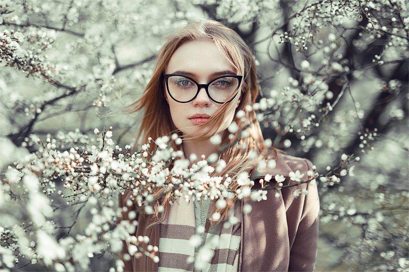 Flowers, Girl, Spring, Весна, Девушка, Цветы, Корнеев Виктор