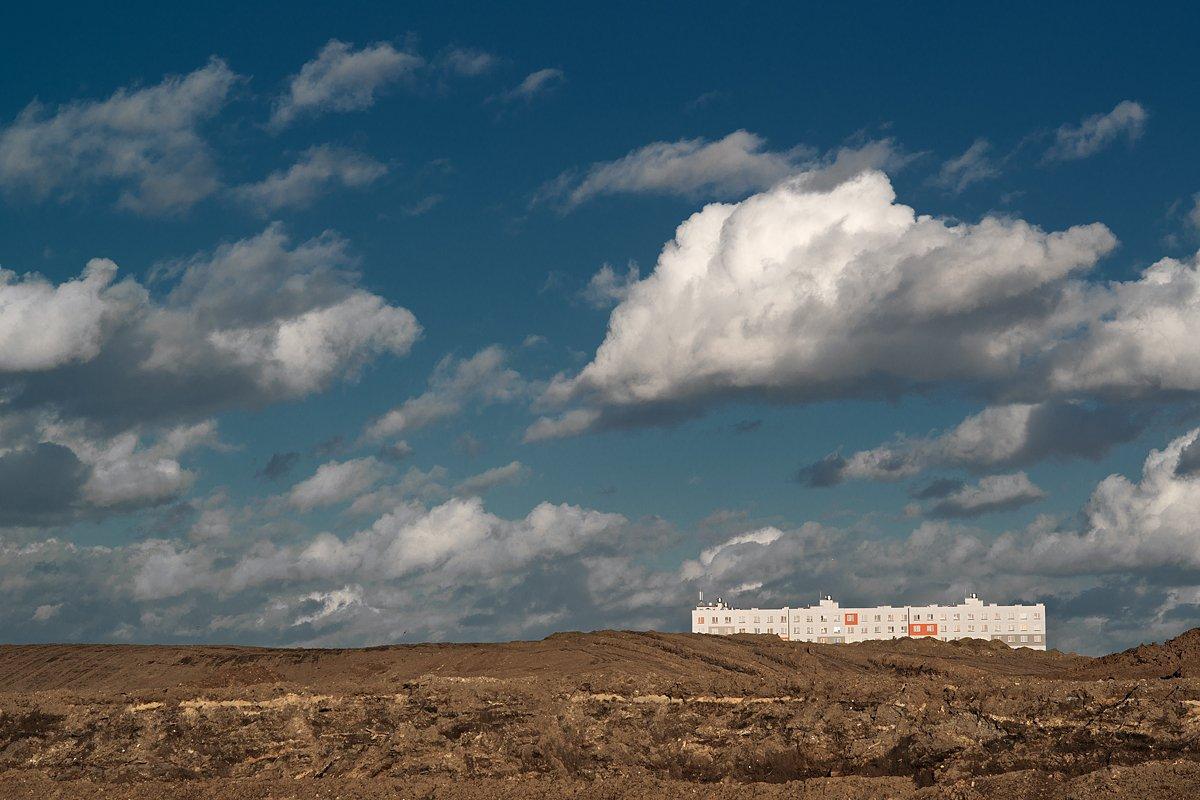 house, cityscape, clouds, blue, sky, ground, landscape, Sergey Skopintsev