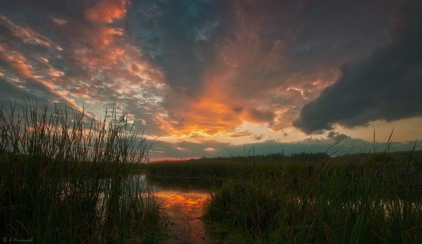 Вечер, Закат, Пейзаж, Природа, Река, Владимир Комышев