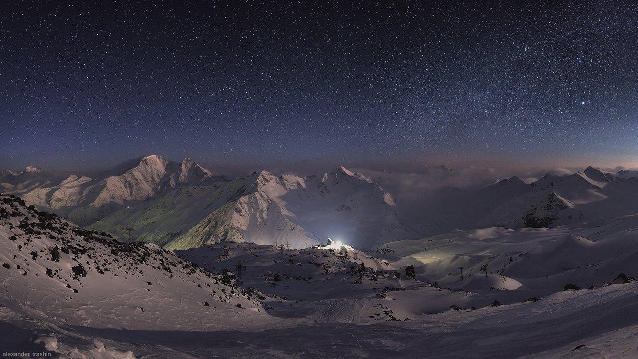 горные пейзажи, кавказ, ночной пейзаж, пейзаж, северный кавказ, эльбрус, Александр Трашин