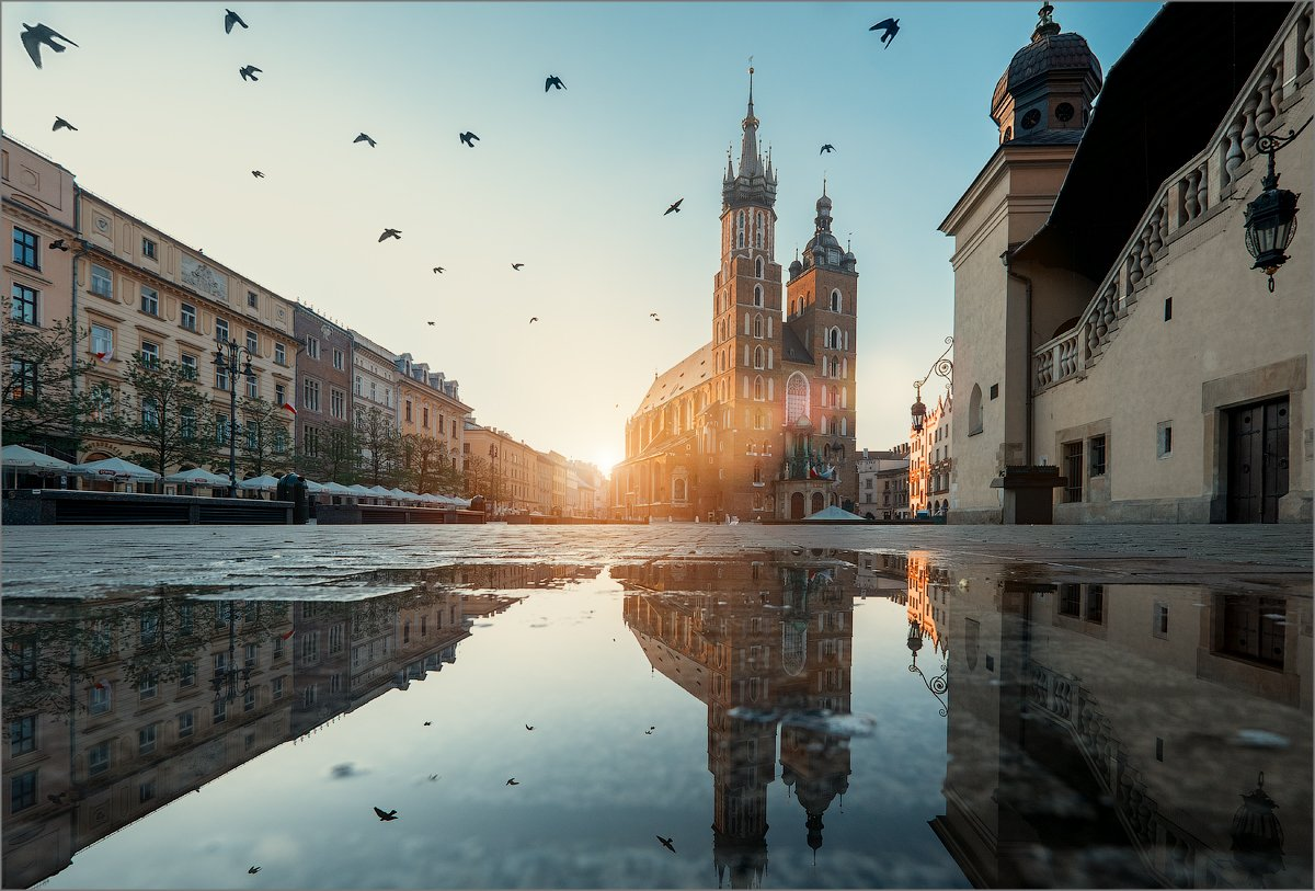 , city, krakow, morning, poland, sunrise, Elena Petrova