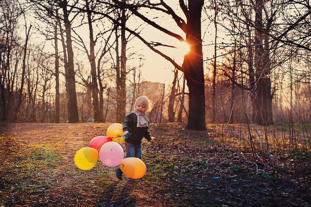 закат, малыш, шарики, Ирина Сиротова
