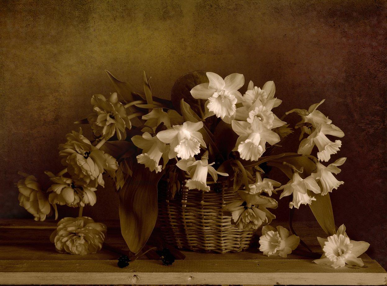 Букет красивых цветов в корзинке, Букет нарцисс, Весна, Натюрморт с цветами, Цветы, Вера Павлухина