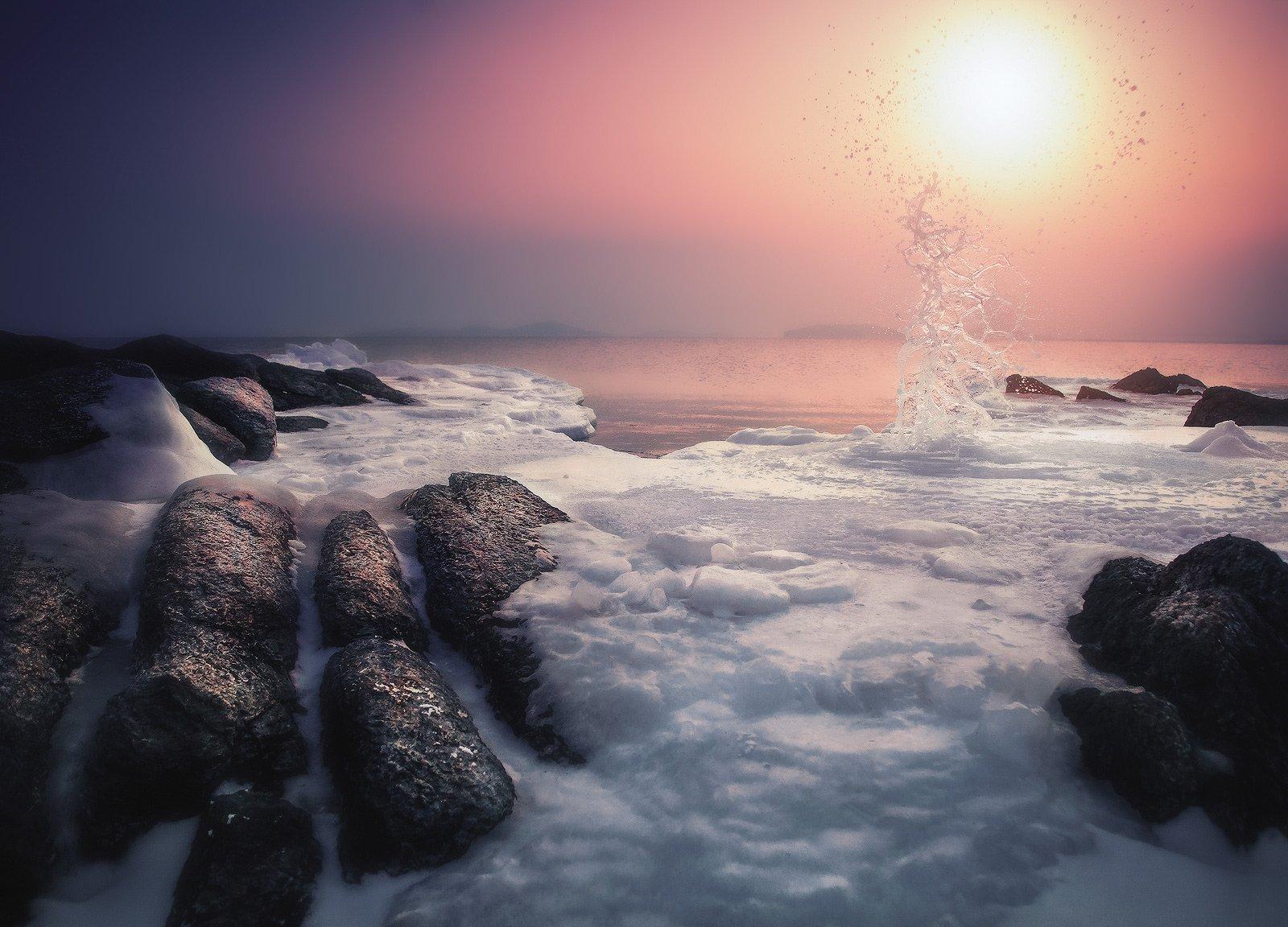 Вечер, Зима, Камни, Море, Андрей Кровлин