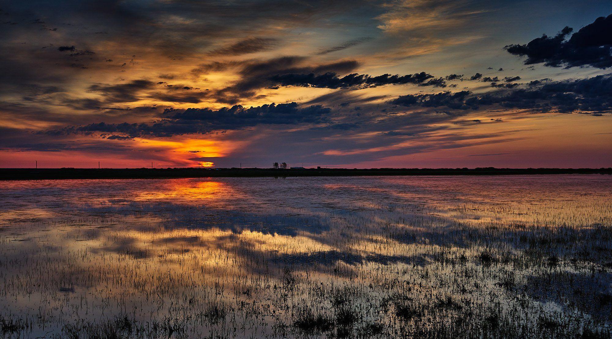 пейзаж закат Казахстан Тургай, Пономарев Андрей