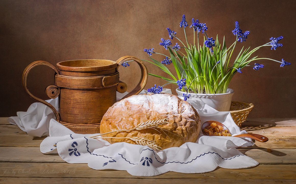 кружка,береста,цветы,мускари,хлеб, Лебедева Светлана