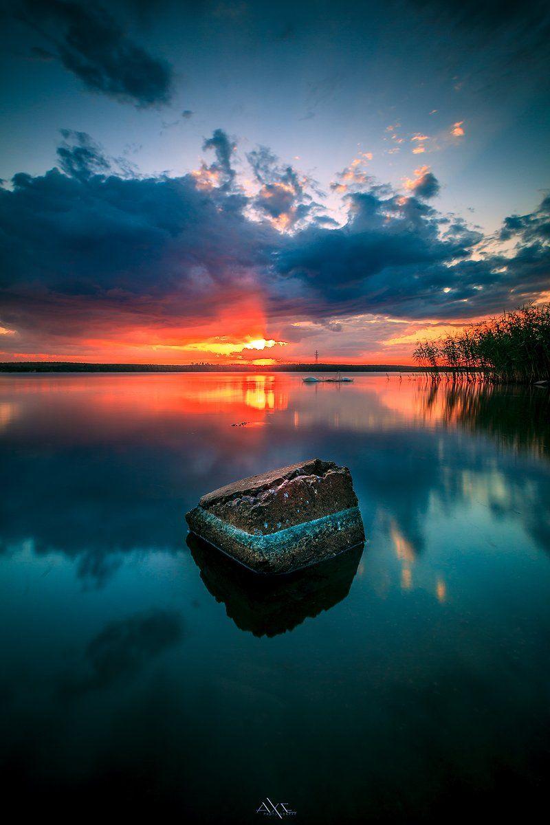 Colors, Curoniain gulf, Klaipeda, Lithuania, Reflection, Sunrays, Sunset, Руслан Болгов (Axe)