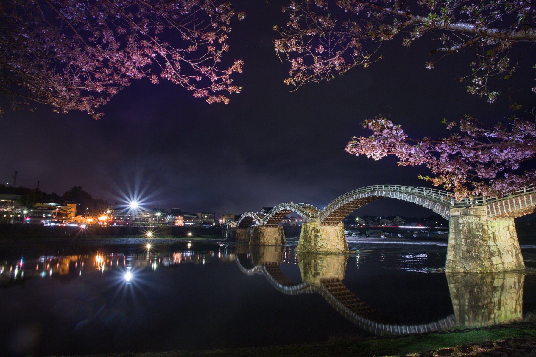 Ивакуни, Мост, Отражение, Сакура, Цветение, Япония, Marina Malikova