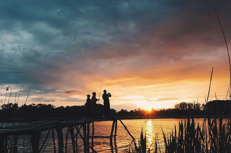 рыбалка, закат, дети, Евгений Савуков
