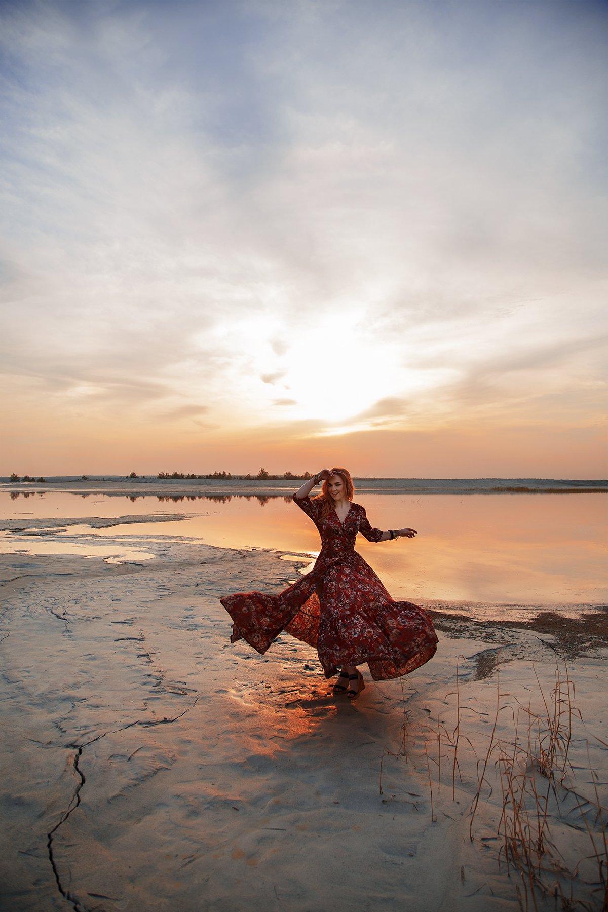 девушка, танец, закат, Онянова Наталья