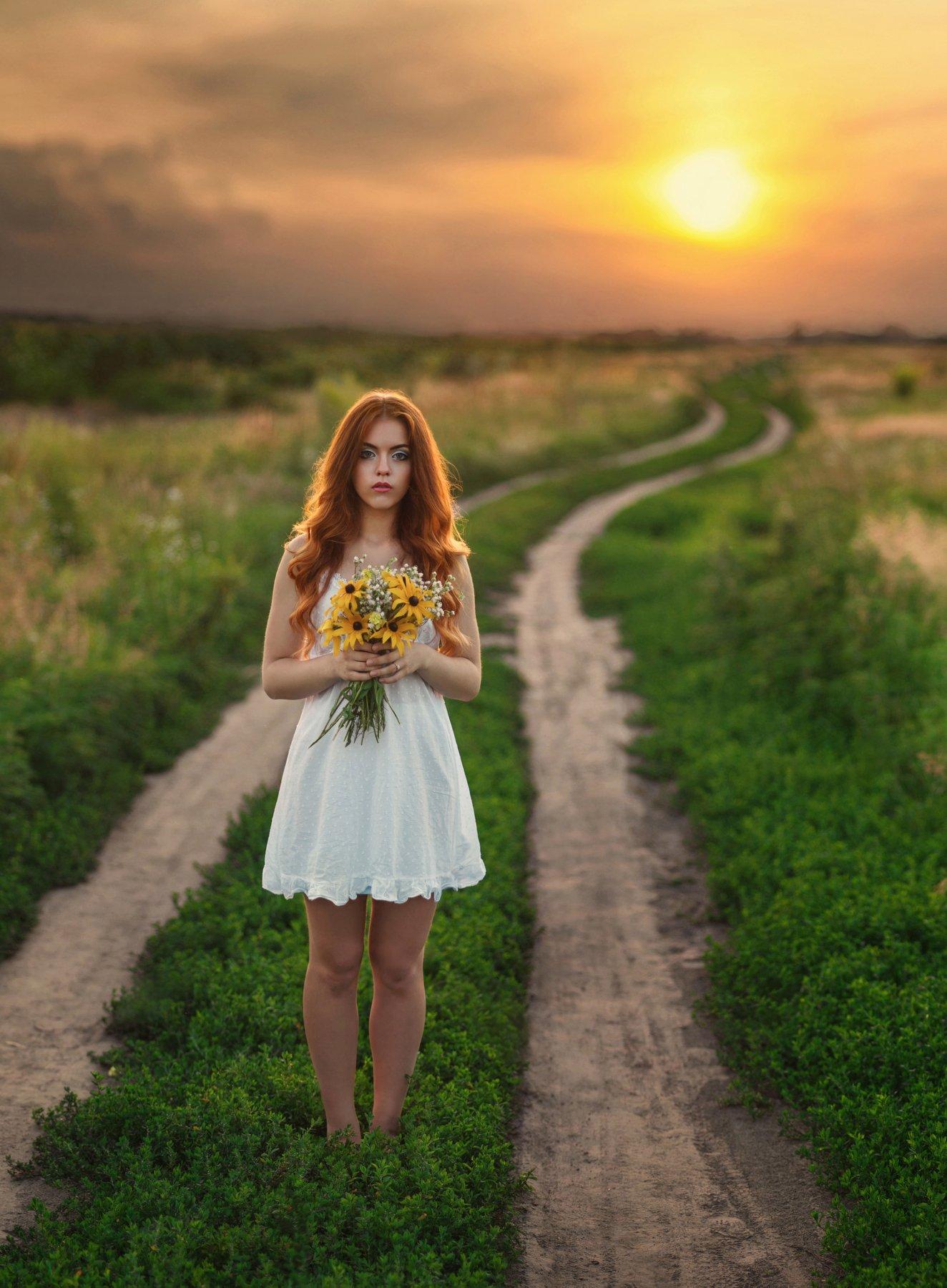 девущка, поле, закат, цветы, дорога, рыжая, Александр Жосан