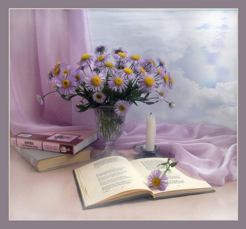 книги, стихи, цветы, небо, облака, свеча, Elena Pankova