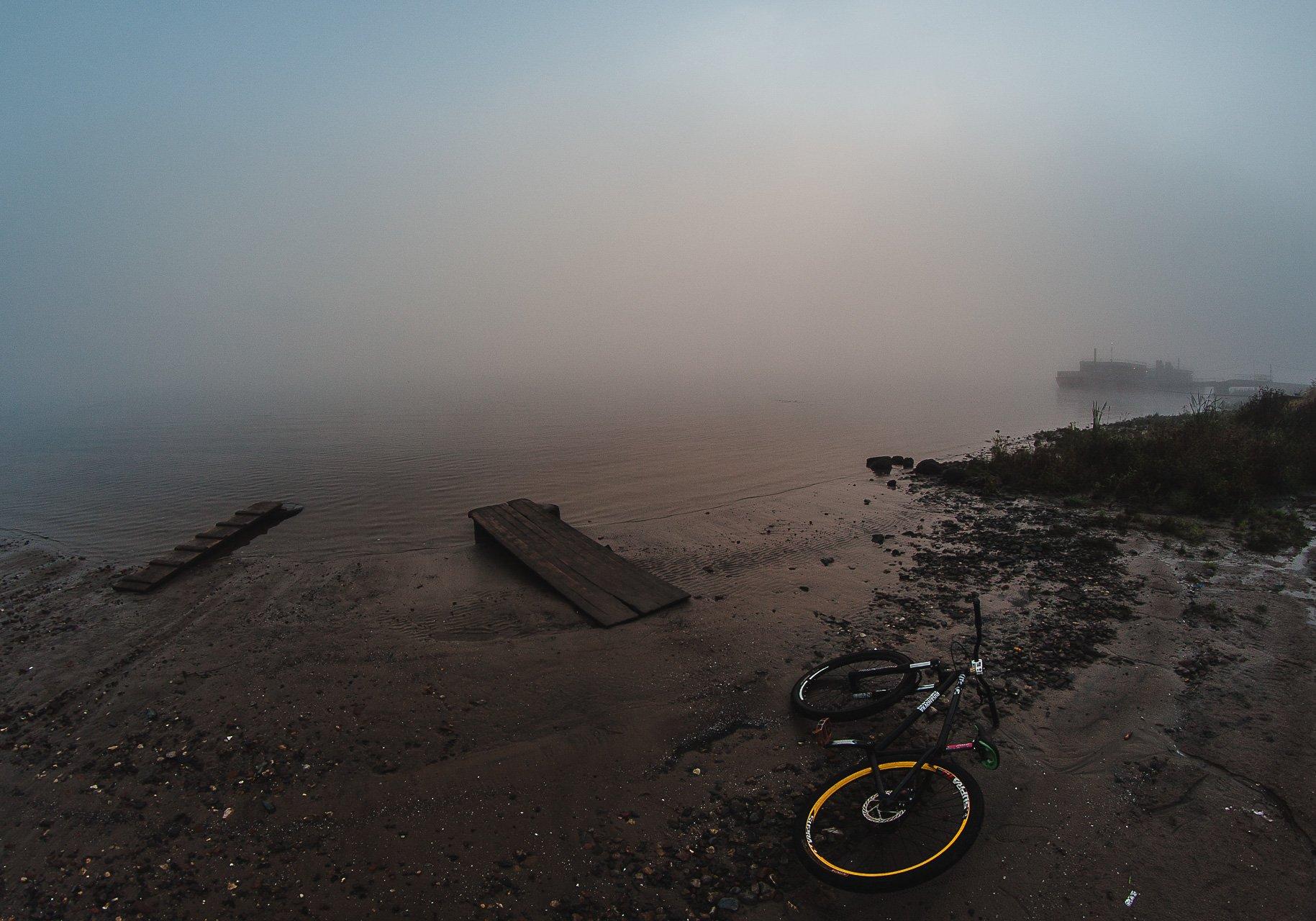 Велосипед, Пейзаж, Река, Туман, Утро, Воронин Вова