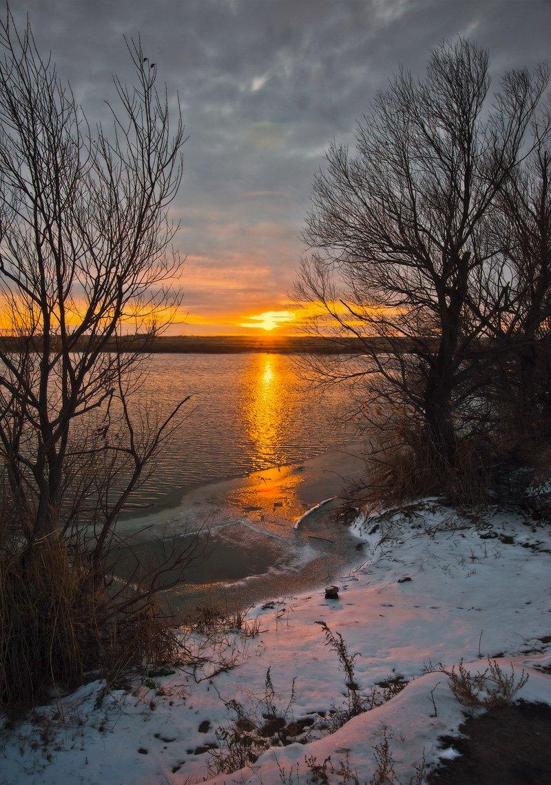 Озеро, Рассвет, Снег, Андрей Журавлев
