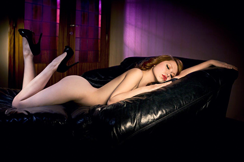 Boudoir, Carolinemadison, Couch, Glamourous, Highheels, Nudeart, Pinup, Redhead, Caroline Madison