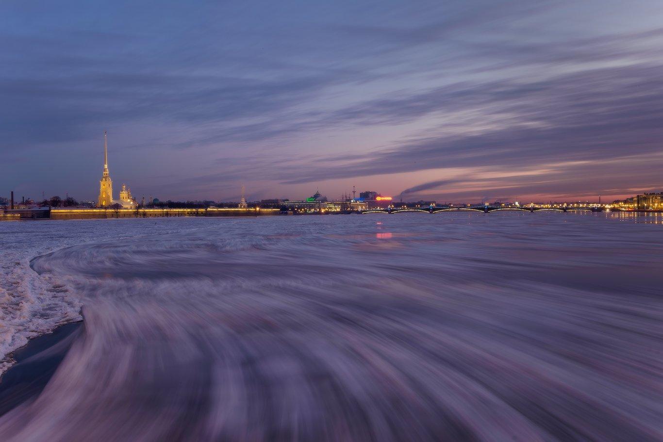 санкт-петербург, нева, утро, рассвет, зима, мост, петропавловка, ледоход, лед, Илья Штром