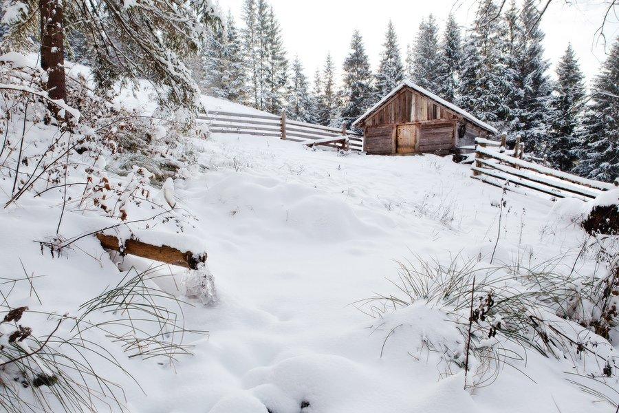 Карпаты, природа, пейзаж, зима, хижина, дом, снег, холод, мороз, Piligrim