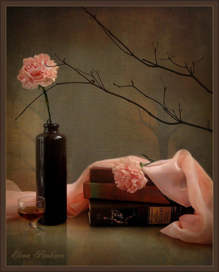 натюрморт, книги, цветы, гвоздики, Elena Pankova