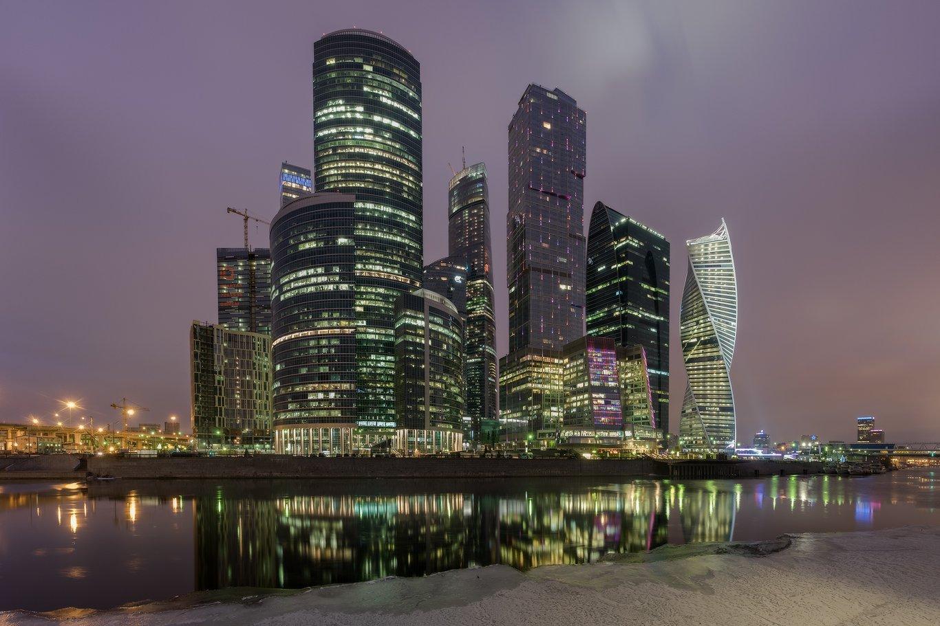 москва, россия, столица, сити, река, рассвет, утро, Илья Штром