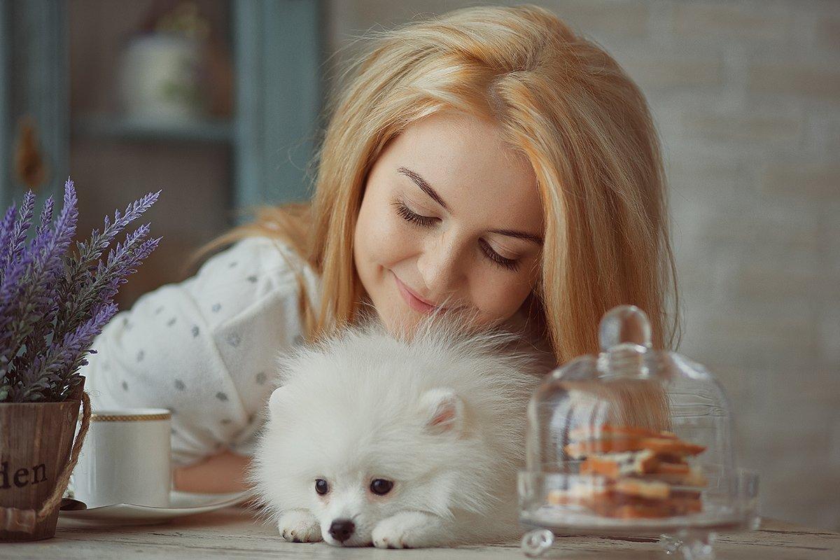 собака, утро, девушка, кофе, Шумкова Элина