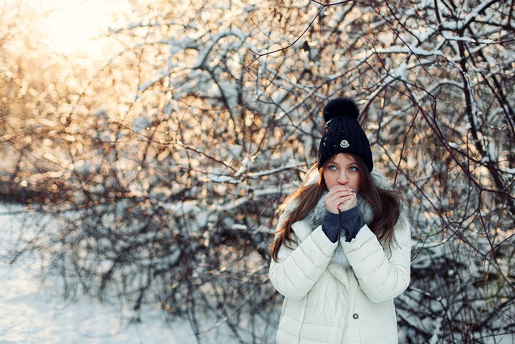 зима, мороз, красота, солнце, девушка, Денис Доронин