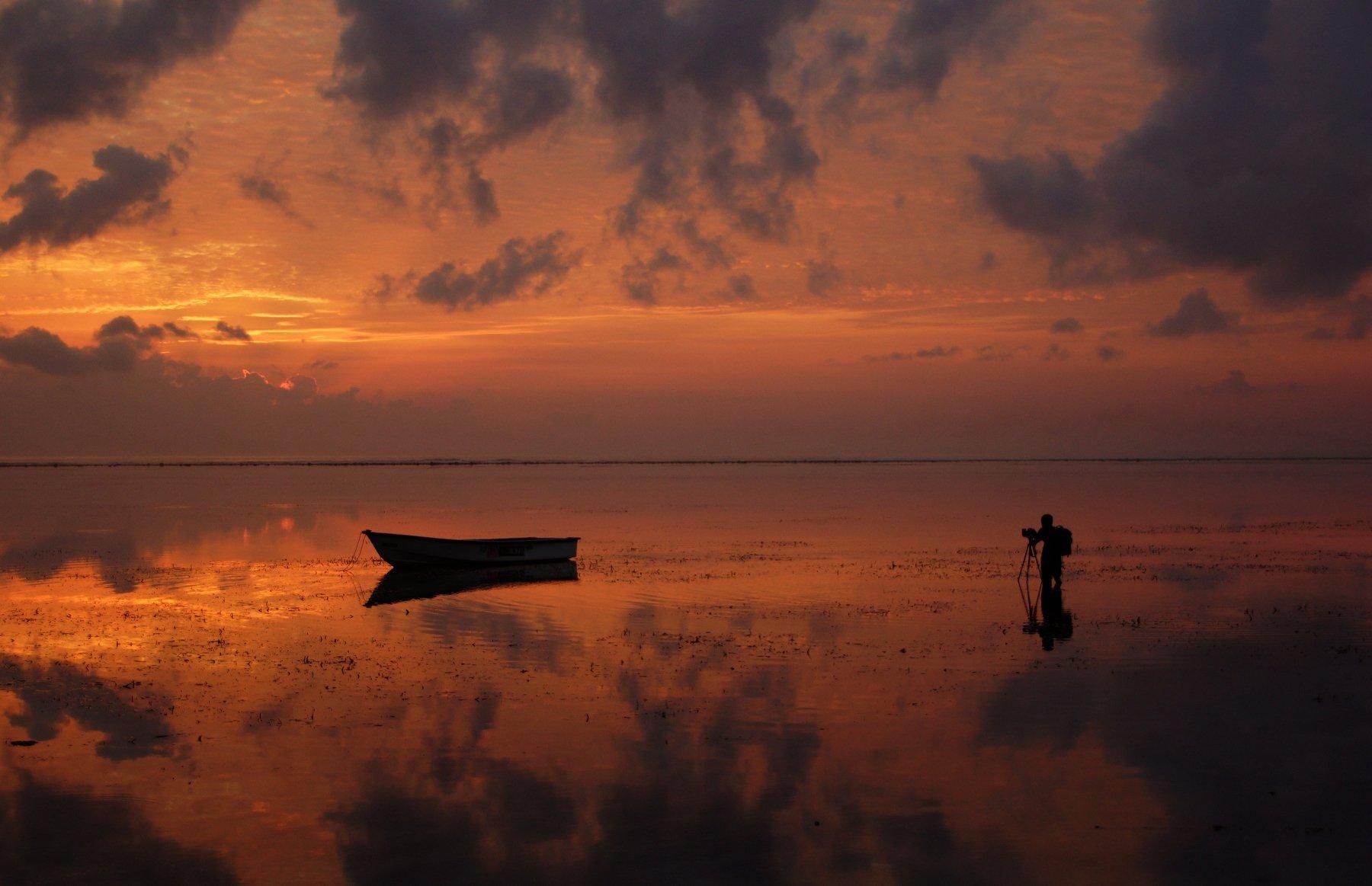 morning, work, dawn, sunrise, boat, beach, ocean, Сергей Андреевич