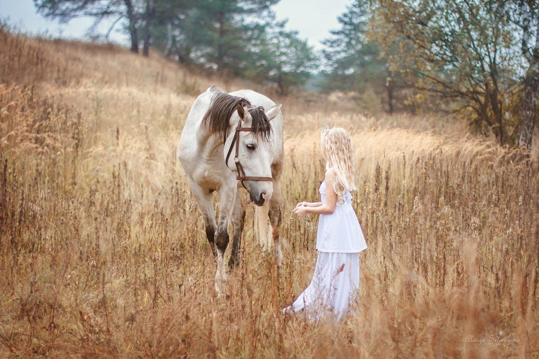лошадь девочка поле, Салангина Алеся
