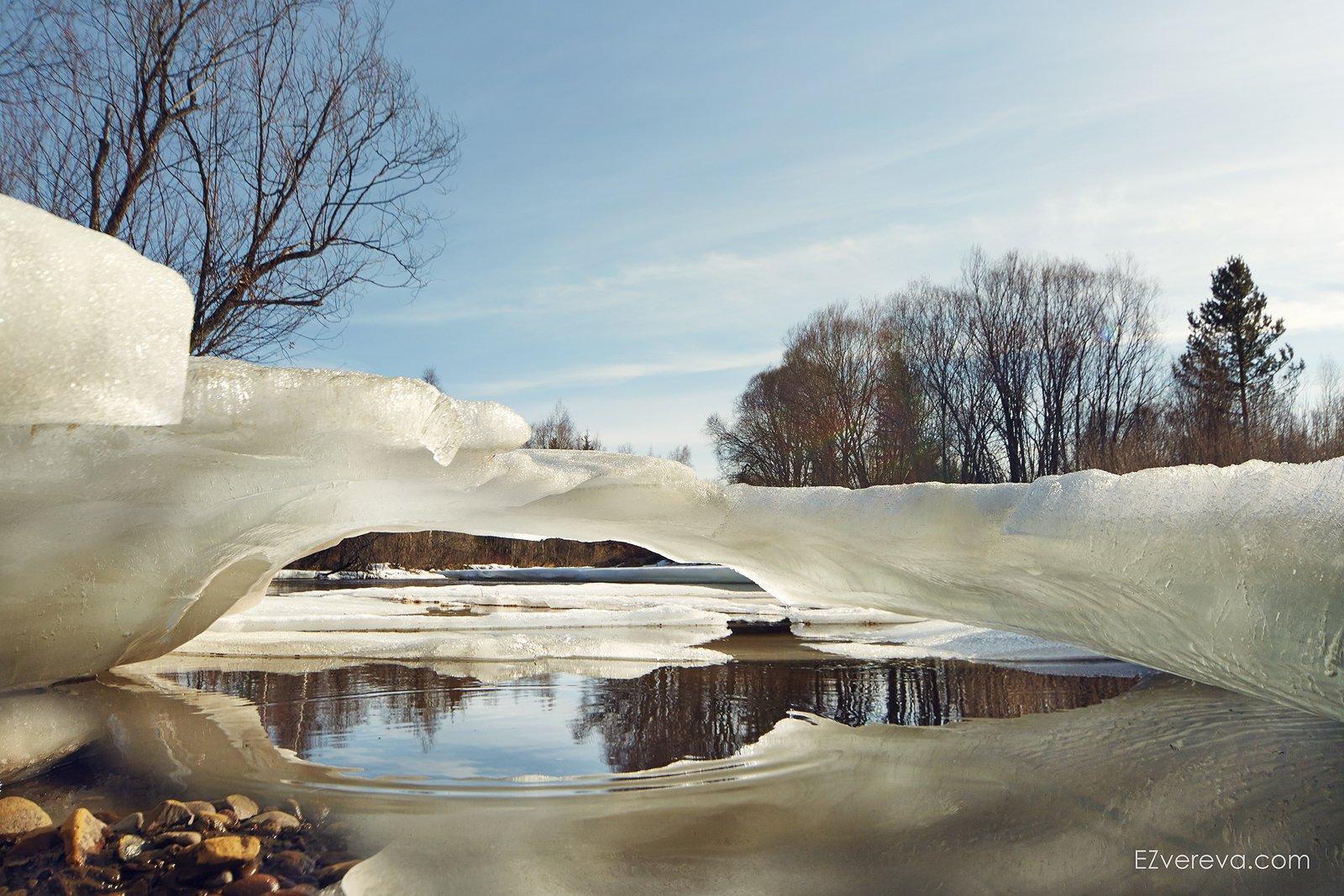 spring, zvereva, nature, sole, ice, river, primavere, Елена Зверева