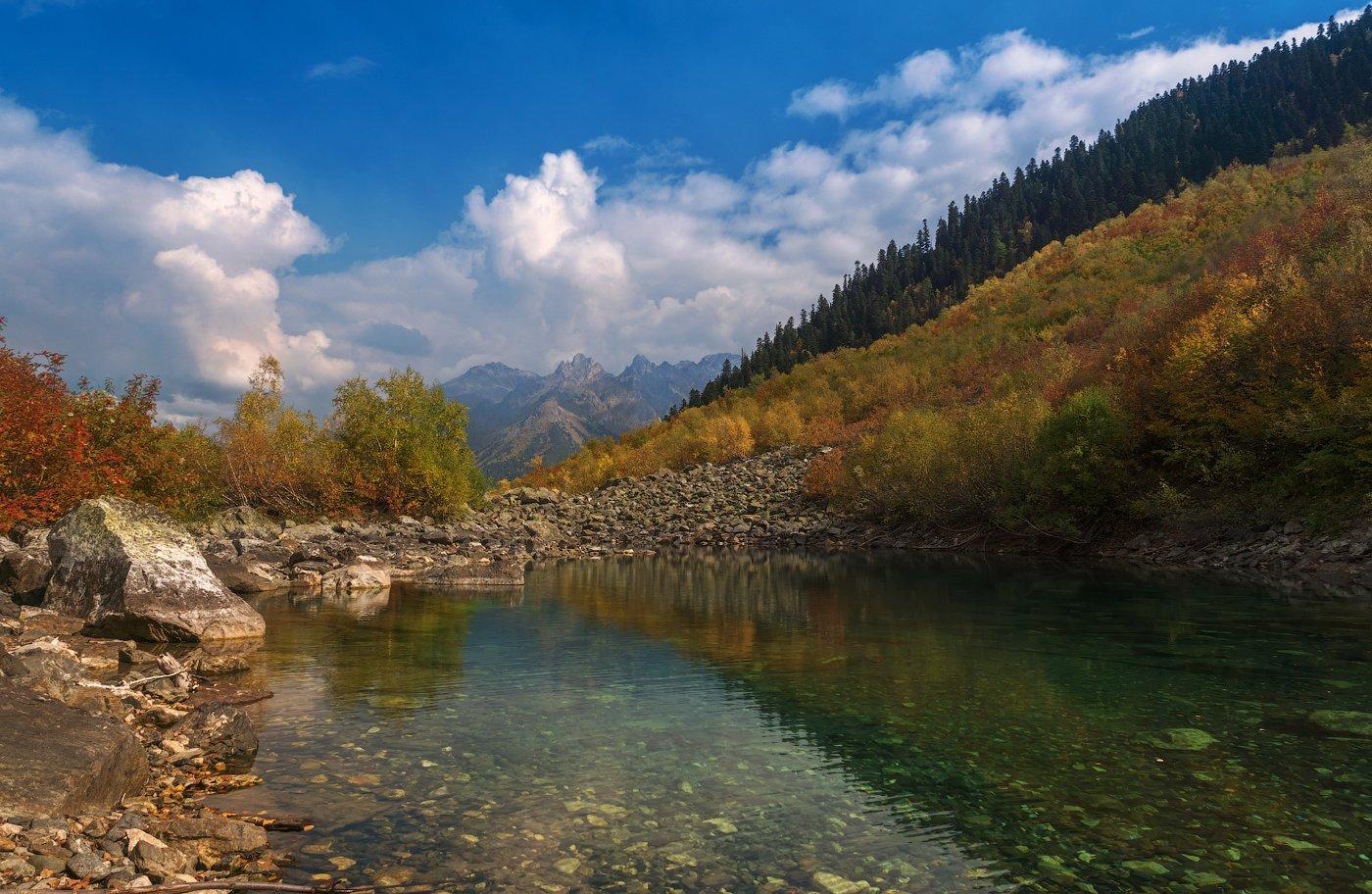 Autumn, Caucasus, Clouds, Бадукское, Кавказ, Карачаево-черкесия, Облака, Озеро, Осень, Теберда, Игорь Подобаев