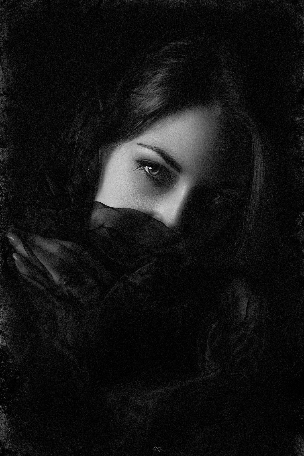 Black and white, Portrait, Studio, Woman, Руслан Болгов (Axe)
