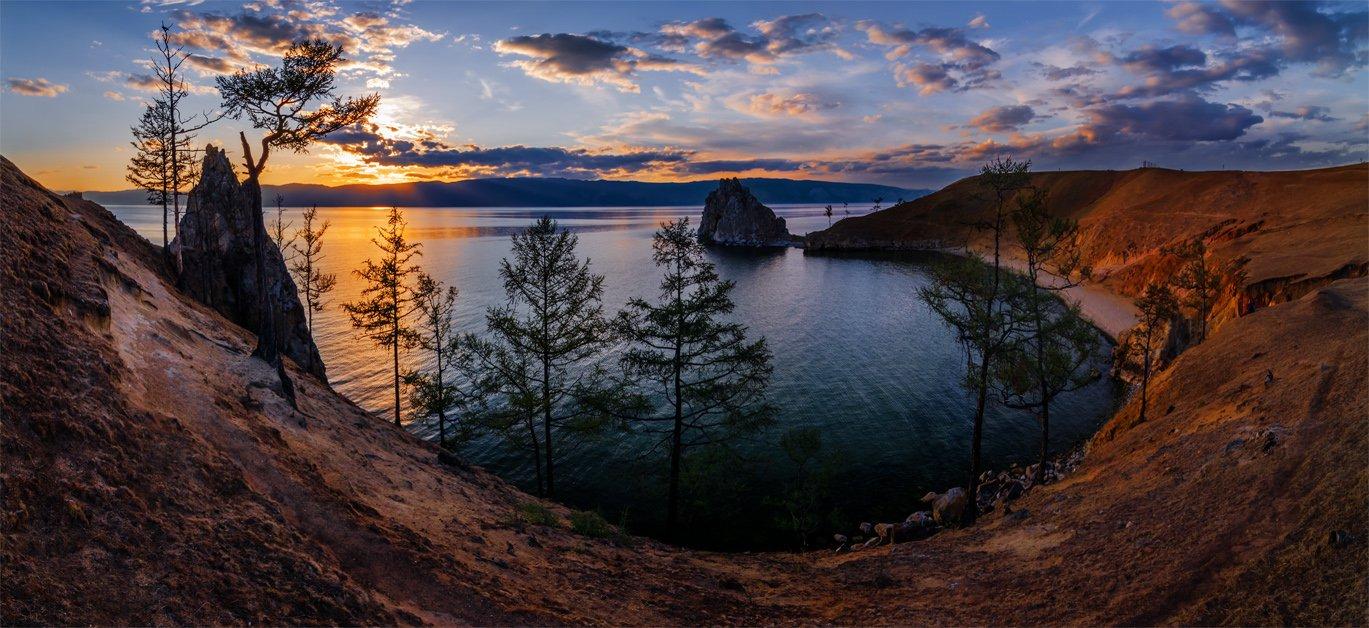 природа, пейзаж, сибирь, озеро, байкал, лето, вечер, закат, скалы, горы, небо, панорама, остров, ольхон, бурхан, шаманка, Альберт Беляев