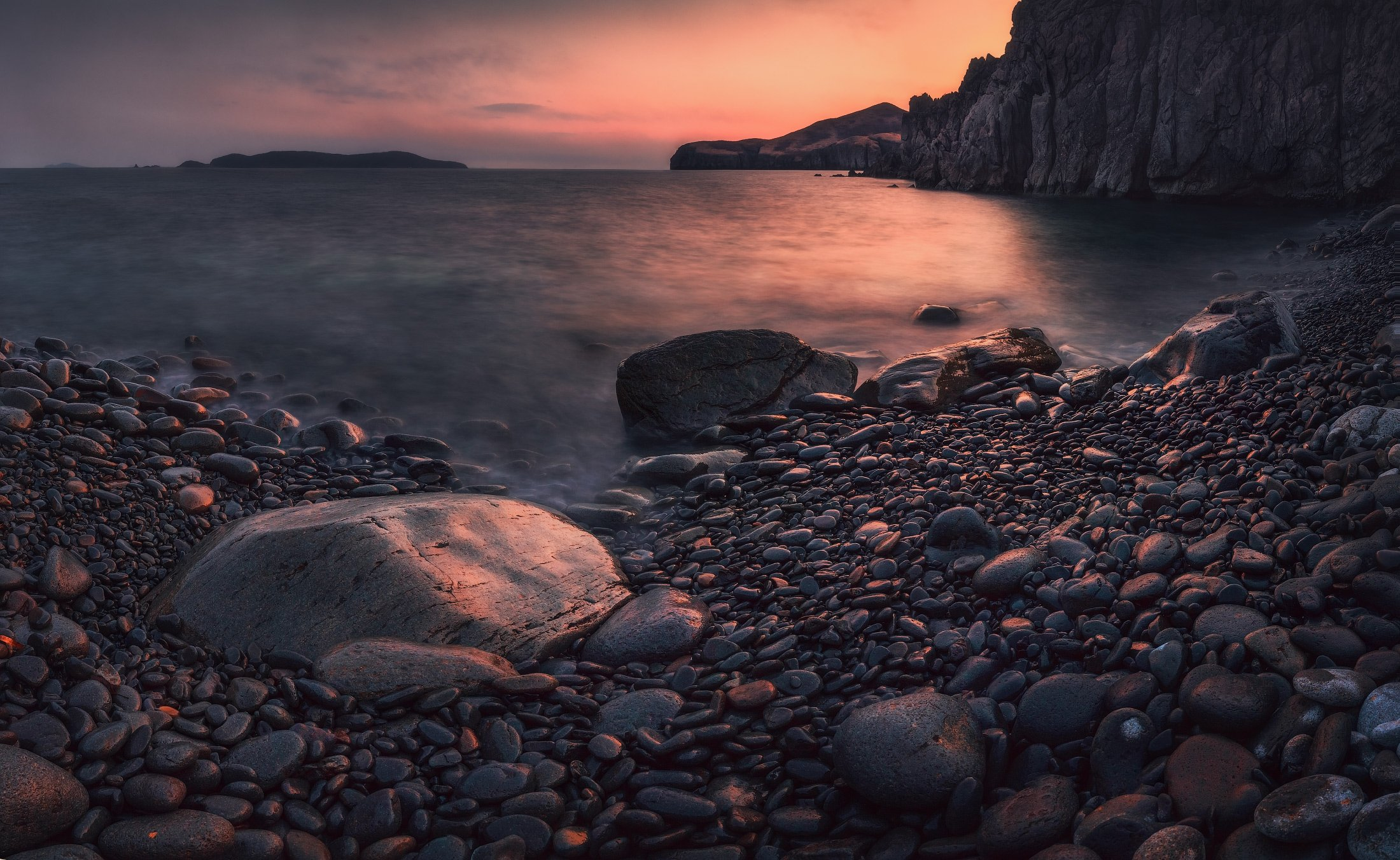 Вечер, Закат, Камни, Море, Небо, Скалы, Андрей Кровлин