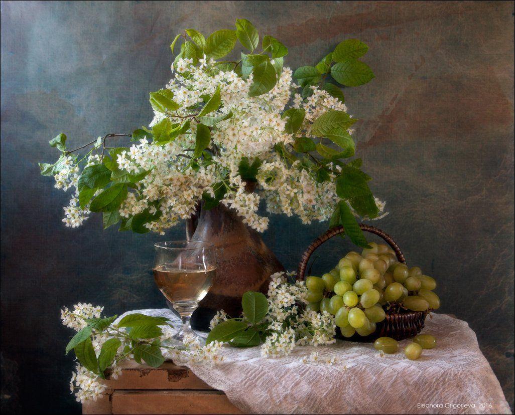 весна, вино, виноград, натюрморт, черёмуха, Eleonora Grigorjeva