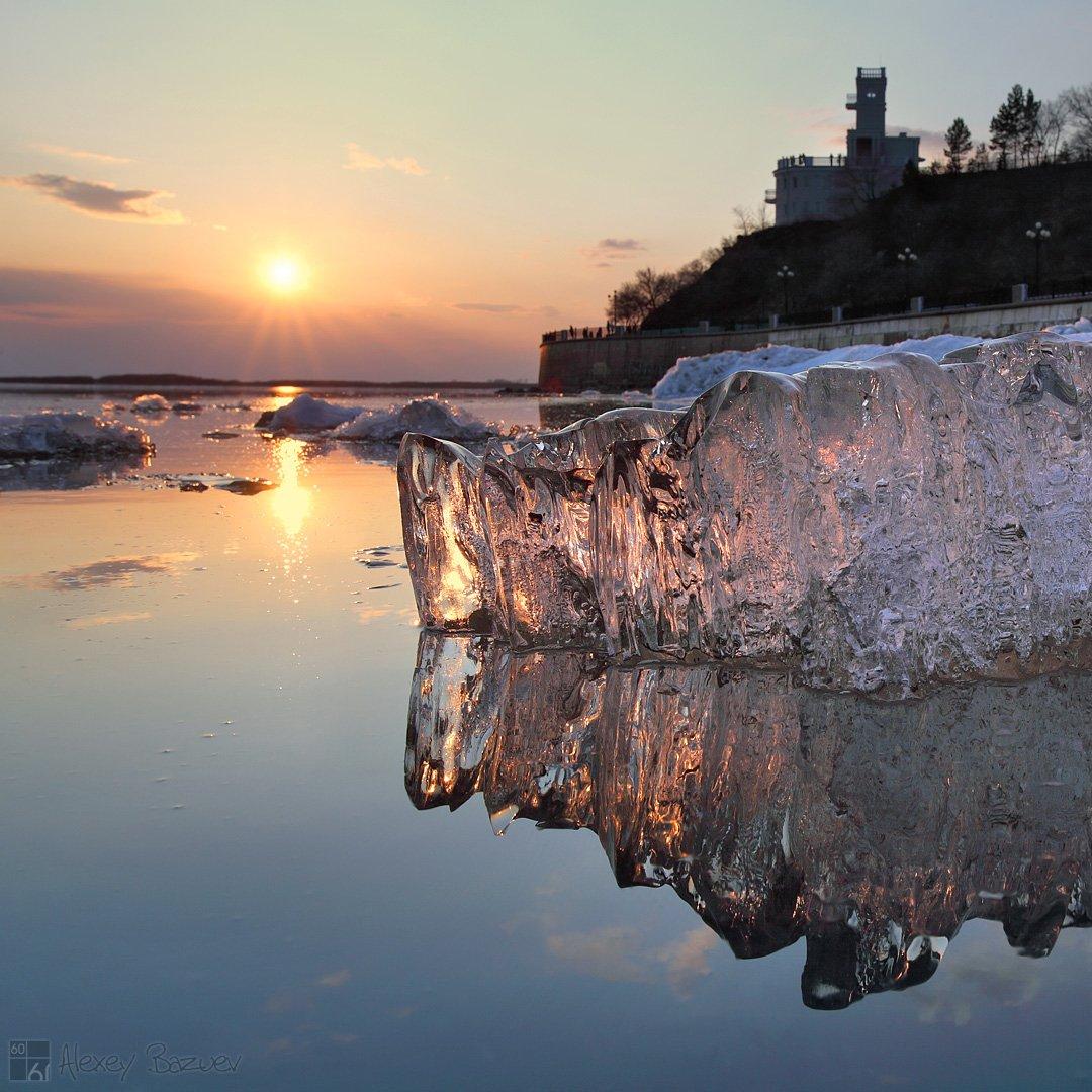 амур, лед, ледоход, закат, утес, Алексей Базуев