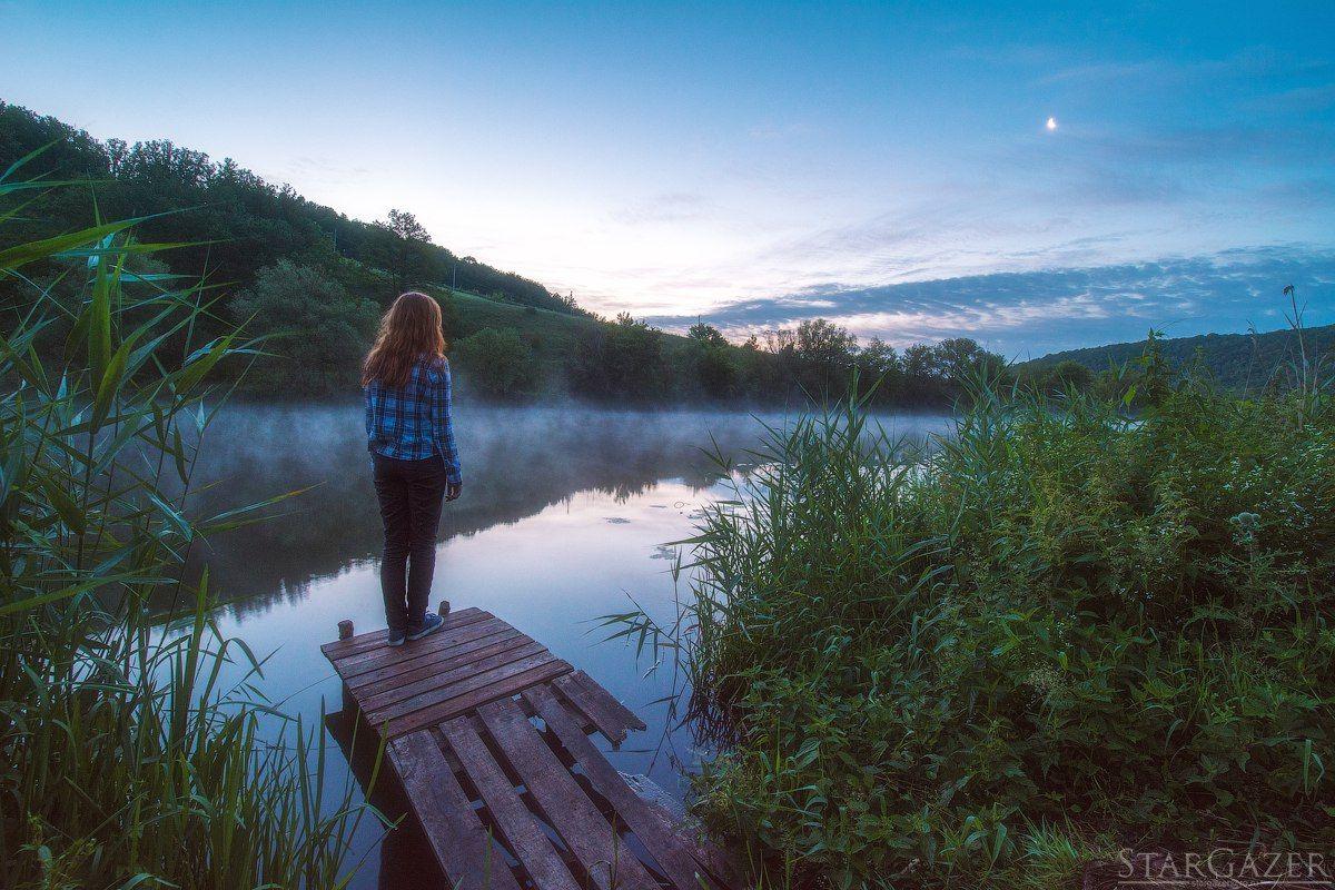 девушка, пейзаж, река, восход, луна, landscape, river, girl, sunrise, Андрей Колобов