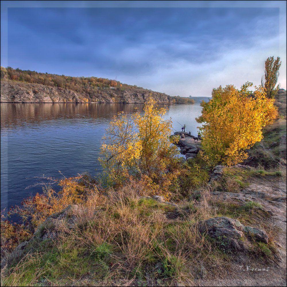 река,скалы,рыбаки,осень, Татьяна Корнус