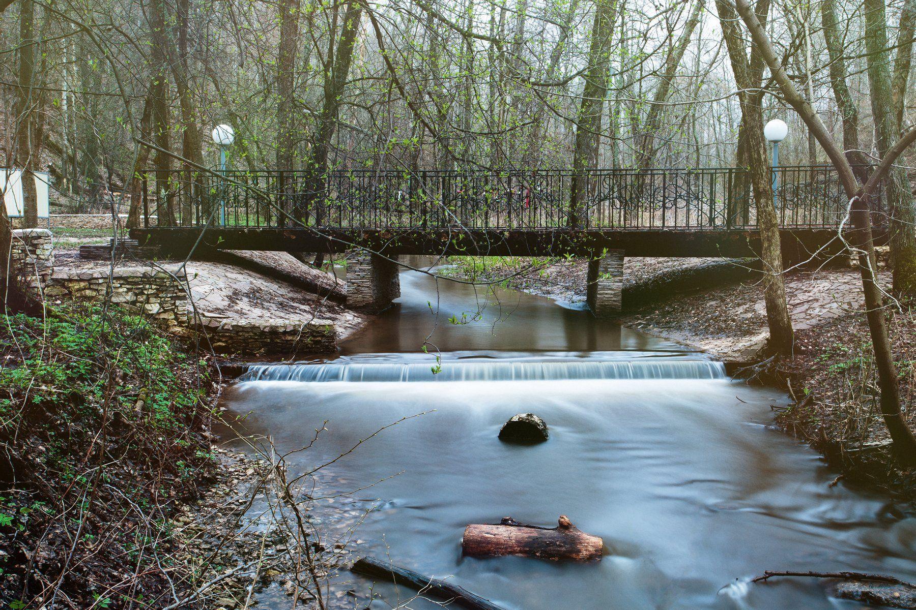 ручей, вода, мост, весна, пейзаж, Владимир