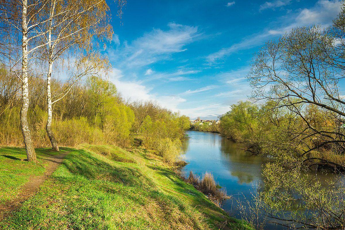 река, весна, апрель, вечер, river, green, trees, sky, Голубев Дмитрий
