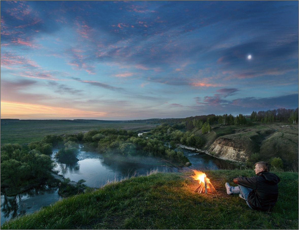 Landscape, Sunrise, Fire, Костер, Пейзаж, Река, Восход, Андрей Колобов
