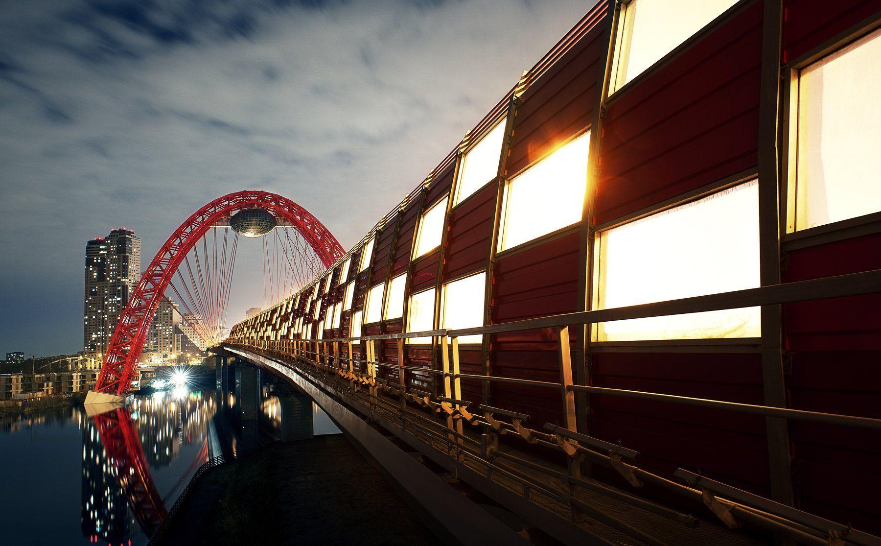 city, mockow, bridge, night, landscape, Некрасов Сергей