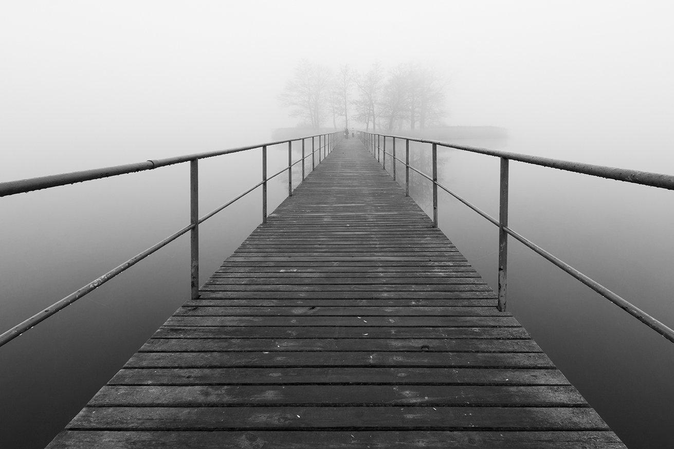 bridge, fog, lake island, the mood, Jan Jaskuła